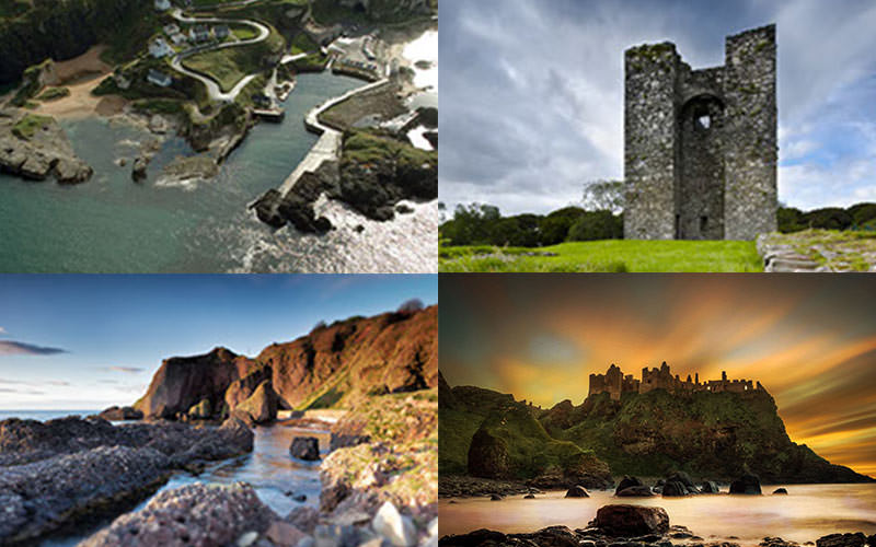 Four tiled images of outdoor Game of Thrones locations in Belfast