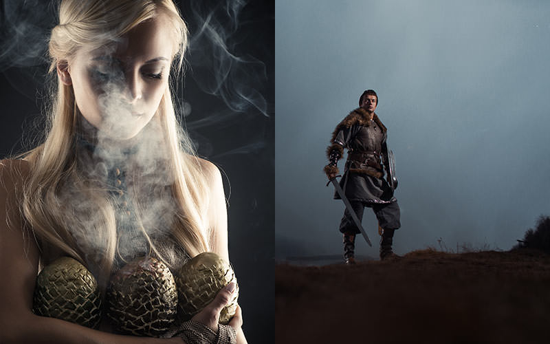 blonde warrior woman holding dragon eggs, warrior man stangin on a misty hill