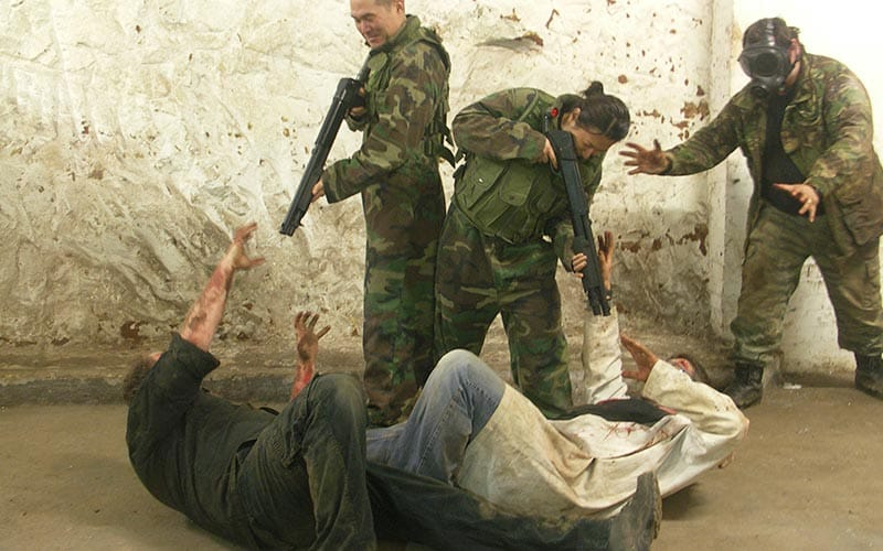 A split image, one close up of a zombie's face and two of men holding guns and wearing camoflague