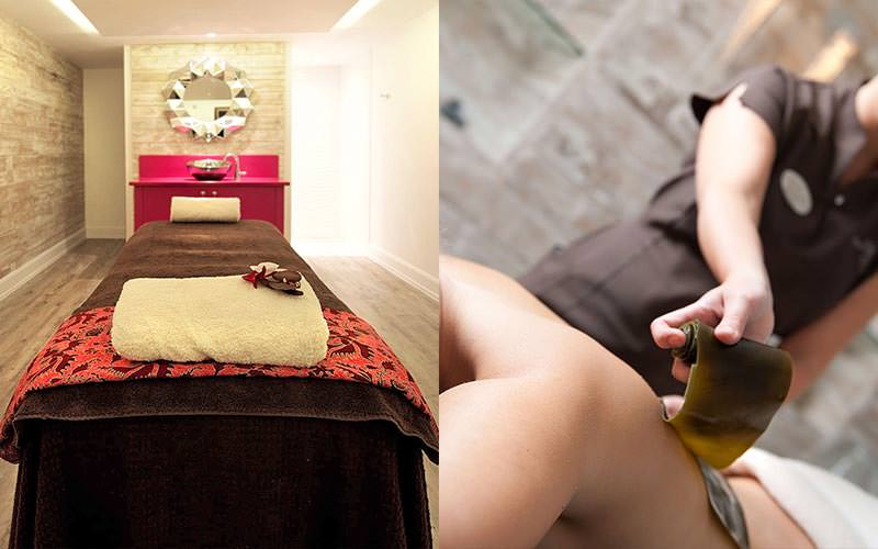 A split image of a treatment bed and someone receiving a seaweed massage