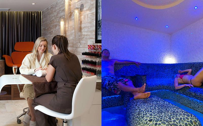 A split image of a woman having her nails done and of people relaxing in a relaxation room