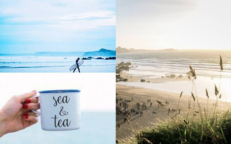 A split image of a man walking with a surfboard, a cup of tea being held up and a beach full of people
