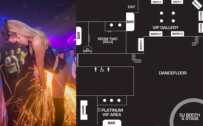 Split image of a woman creating sparks, and a floor plan of Shoosh club