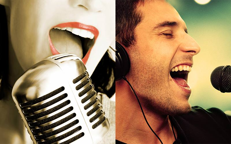 Split image of a close up of a man and woman singing into a microphone