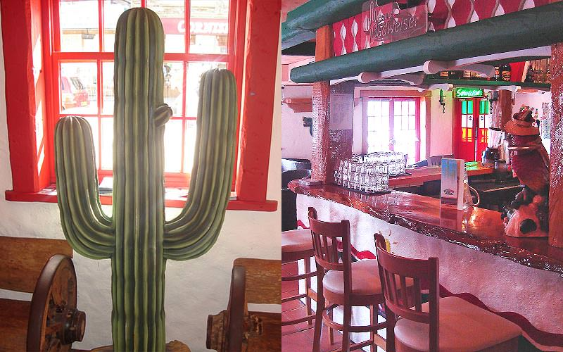A split image of a cactus and a Mexican themed bar