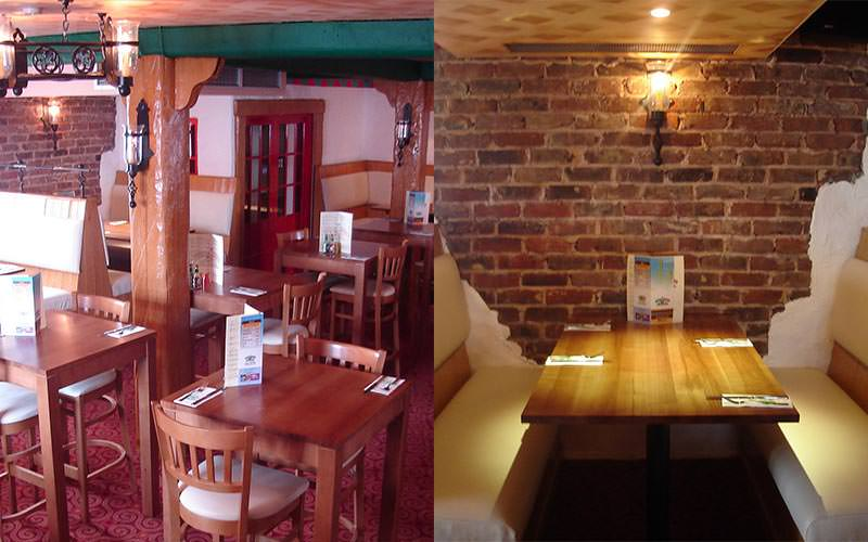 A split image of some wooden tables in the restaurant and a wooden table to a backdrop of an exposed brick wall