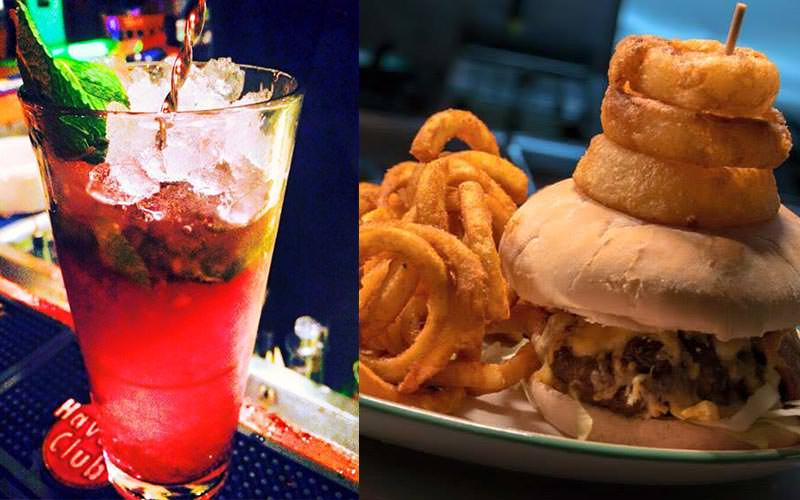 A split image of a red cocktail with lots of crushed ice in and a burger with onion rings stacked on the top
