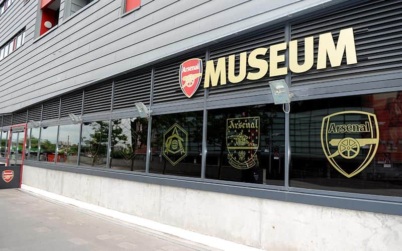 The exterior of the Arsenal Museum at the Emirates Stadium
