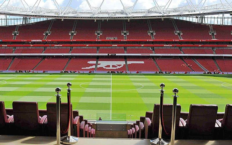The pitch and seating at the Emirates