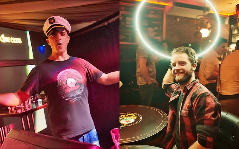 A split image of a man wearing a soilor's cap and a man holding a white circle of light like a halo behind his head