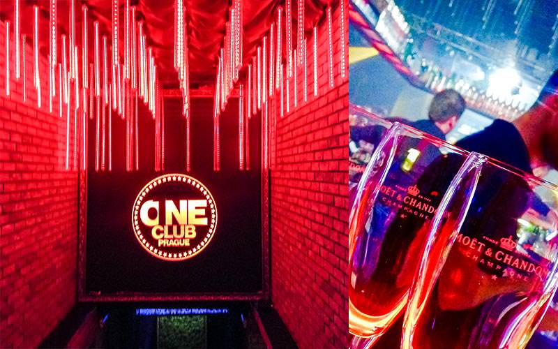 A split image of One Club under bright red lighting and two Moet glasses in the club