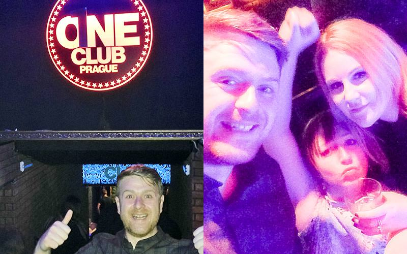 A split image of a man holding his thumbs up to the camera under the One Club sign, and a man and two women partying in One Club