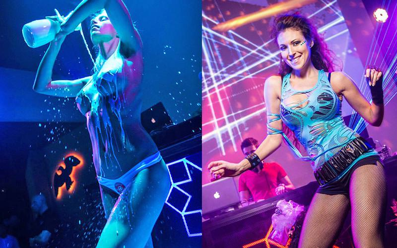 A split image of a girl pouring milky liquid on her breasts and a girl dancing in Mecca Club