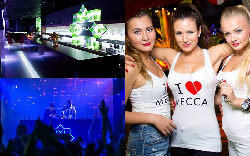 A tiled image of the bar in Mecca, a DJ performing and girls in 'I love Mecca' T-shirts