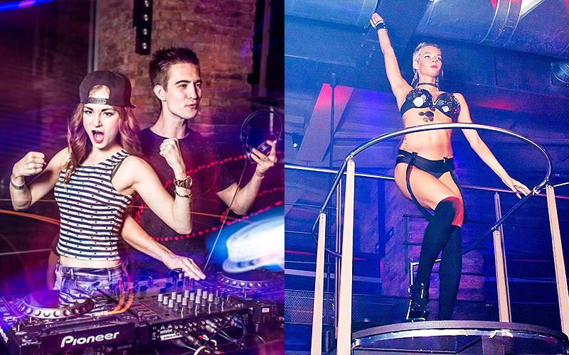 A split image of a man and a woman on the DJ decks and a woman in her underwear dancing on stage in Duplex