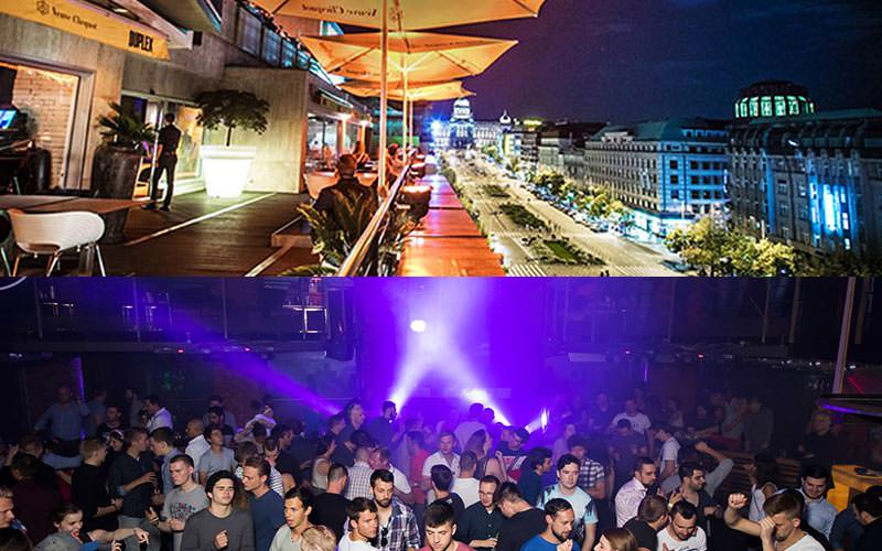 A split image of the outdoor balcony terrace in Duplex and some people partying in the club
