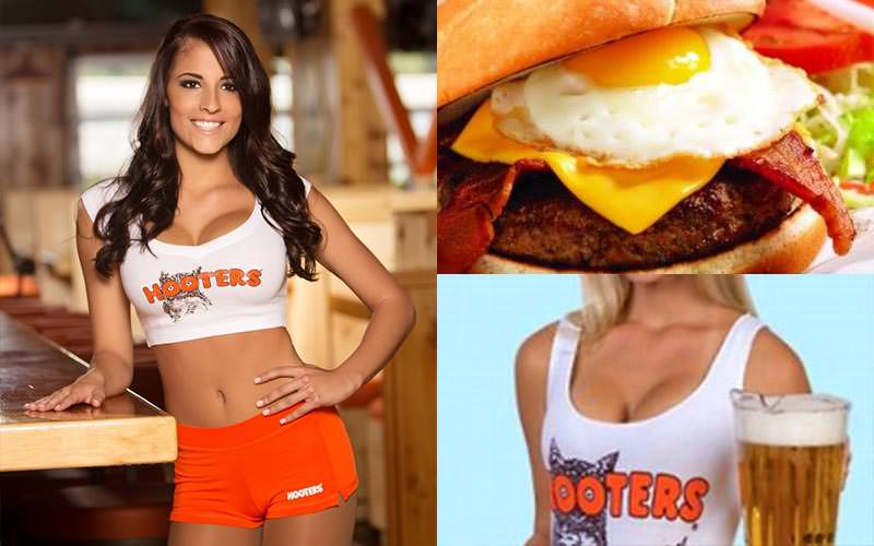 A tiled image of a woman wearing the Hooters uniform, a burger with an egg in it and a woman wearing a Hooters vest, holding a stein