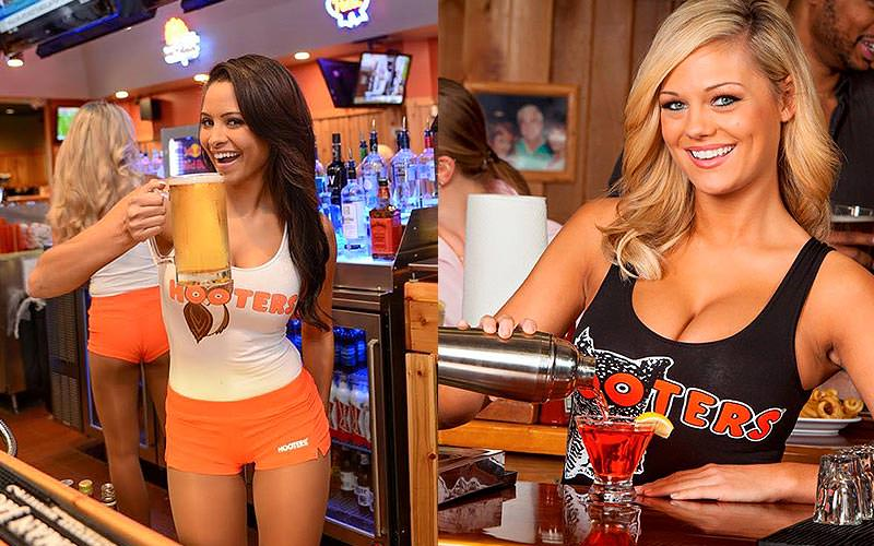 A split image of two women in Hooters, one holding a pint and one pouring a cocktail