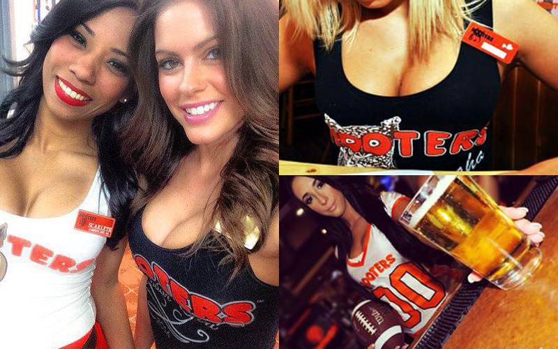 Tiled images of Hooters staff wearing the trademark uniform