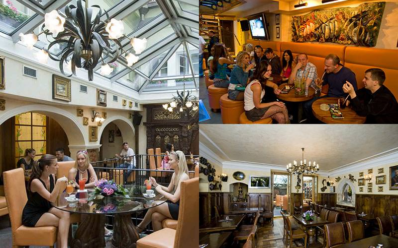 Two tiled images of people sat at tables, and the wooden restaurant at Zlaty Strom