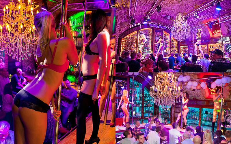 Three tiled images of female strippers pole dancing on stage to a packed crowd in Zlaty Strom