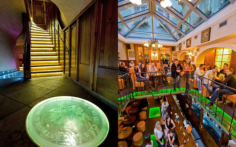 Split image of people stood on a balcony at Zlaty Strom, and the staircase in the hallway