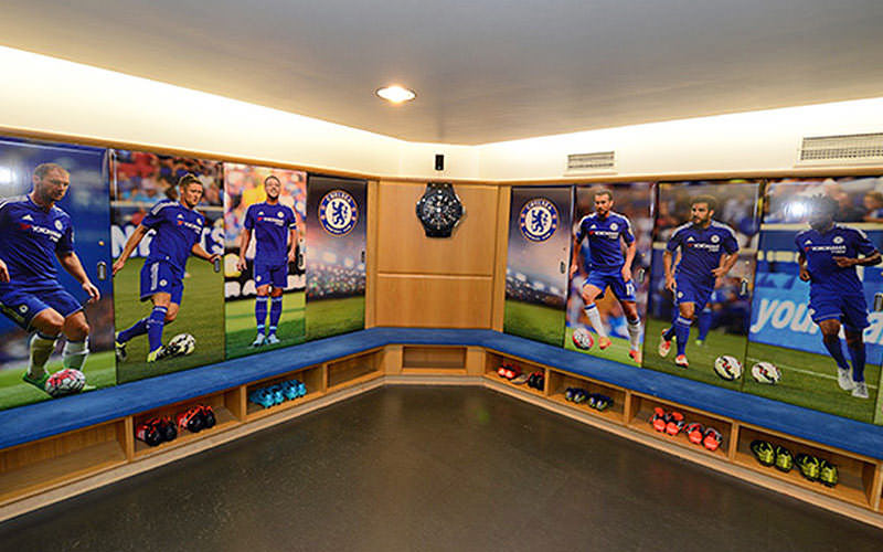 A view of the changing rooms inside Stamford Bridge