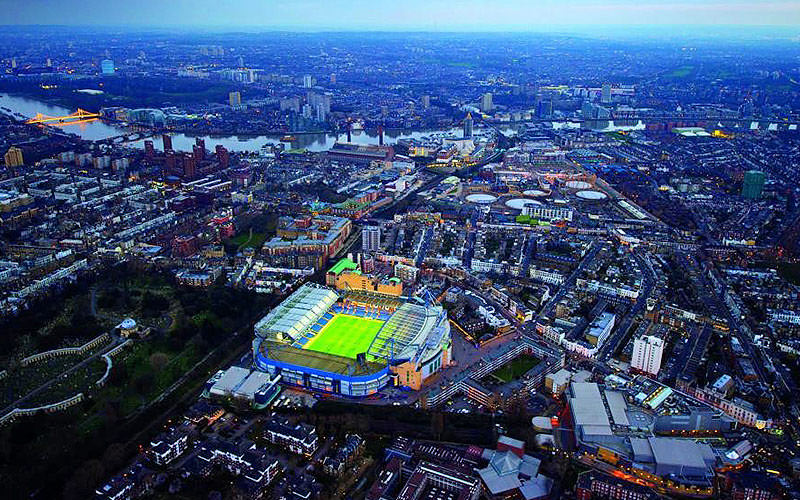 An aerial view Stamford Bridge
