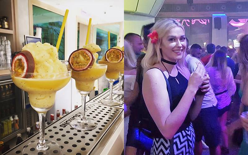 Split image of three yellow cocktails on a bar, and a woman posing for a picture whilst holding a drink