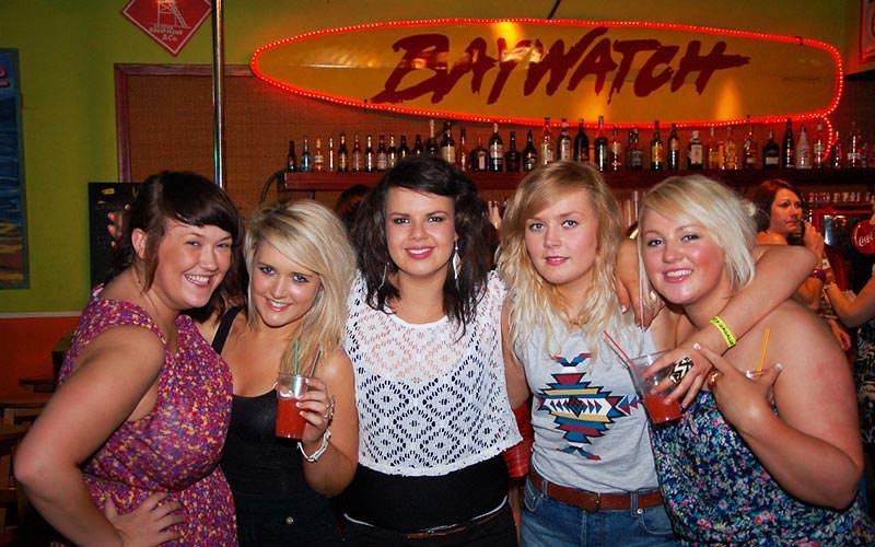 Five girls in Baywatch bar in Magaluf