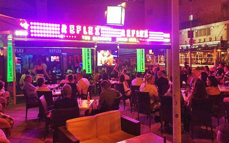 The beer garden within Reflex bar, in Magaluf