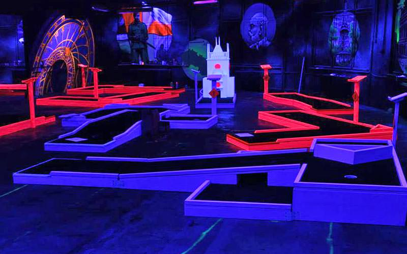 The glow golf course illuminated with UV lighting