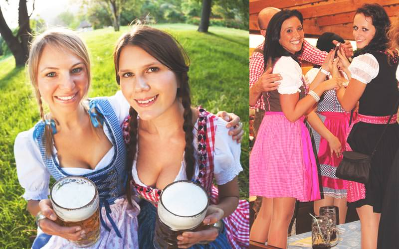 Split image of two women in beer maid costumes and holding two full steins, and women dressed as beer maids