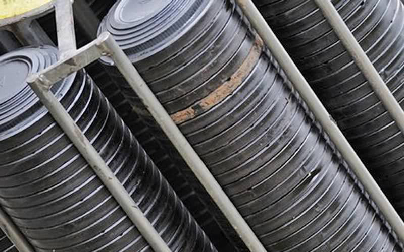 Clay discs stacked up in racks