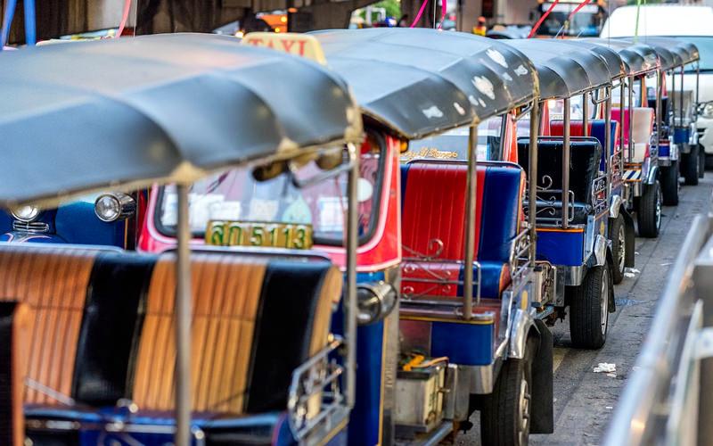 A row of Tuk Tuk vehicles
