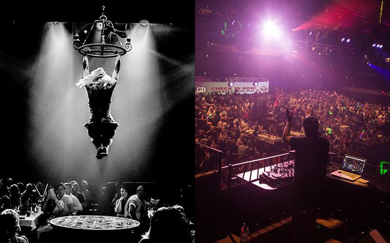 Split black and white image of someone holding theirselves up on a chandelier, above a table, and the back of a DJ clapping to a crowd