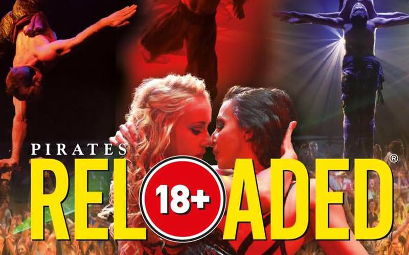 Pirates Reloaded show logo over images of people performing