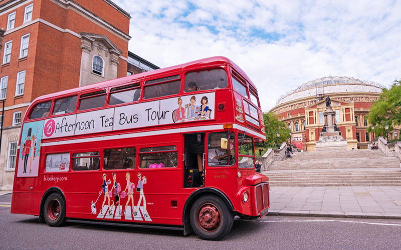 The red double decker, afternoon tea bus parked up