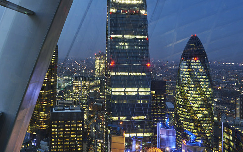 The view of the Gherkin, London from Sky pod bar at Sky Garden