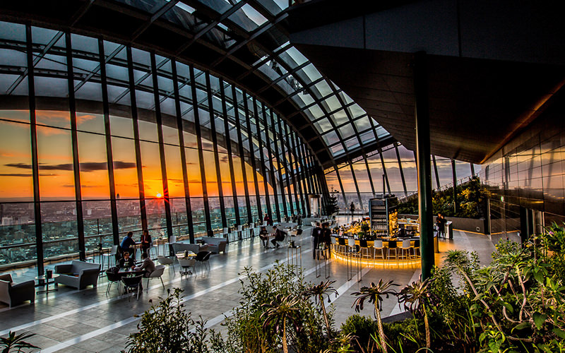 Sunset at sky pod bar, sky garden, London