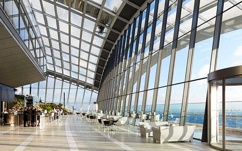 Sky pod bar at sky garden London, all glass windows with panoramic views of London