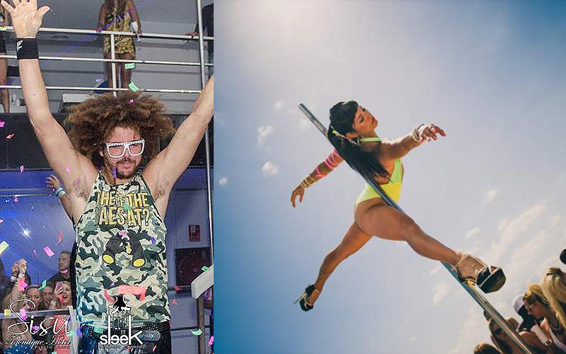 Split image of a man holding his hands in the air, and a woman dancing on a pole
