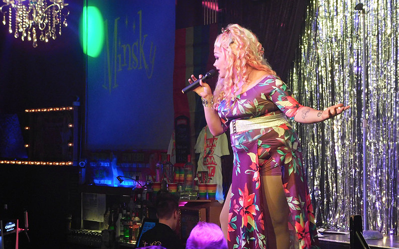 A drag queen performing on stage