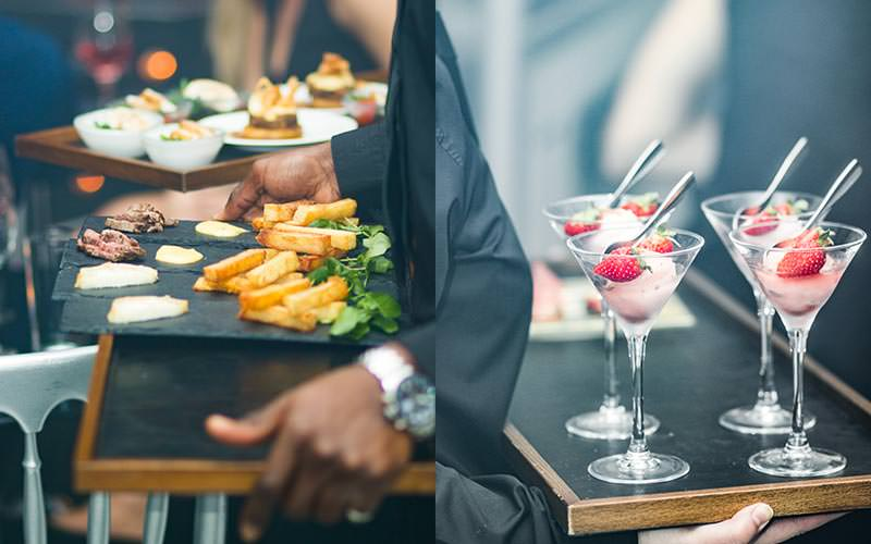 A split image of a man carrying starters on slates, and of four desserts in martini glasses