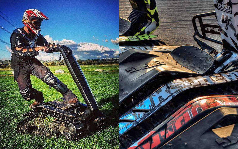Man riding DTV shredder off road, split with close up of shredders