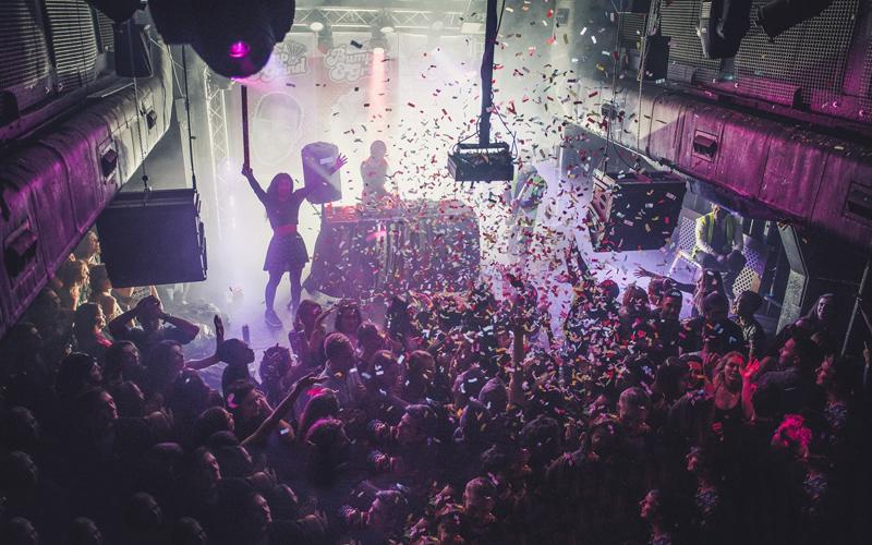 The Thekla floating nightclub at night