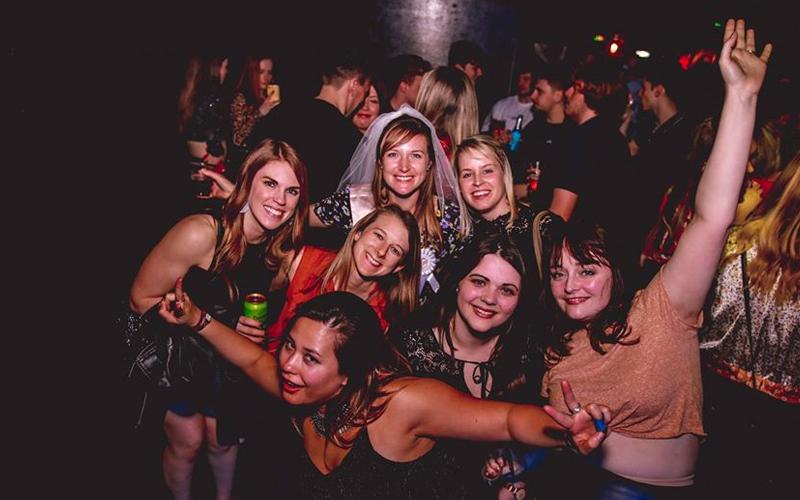 Three women out at Thekla nightclub