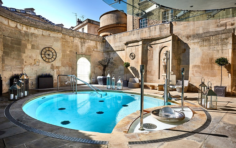 A view of a small pool at a spa
