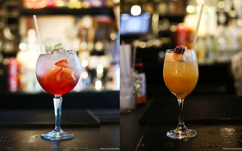 Split image of two cocktails with fruit and ice