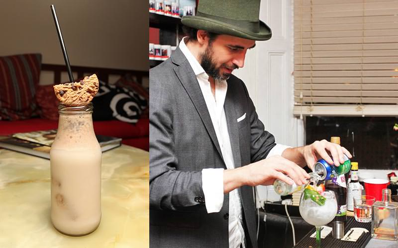 Split image of a cocktail in a mil bottle and topped with half a cookie, and a bartender pouring drinks in a glass
